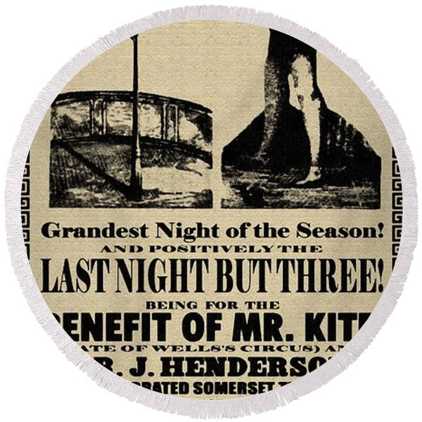 Round Beach Towel featuring the digital art For The Benefit Of Mr Kite by Bill Cannon