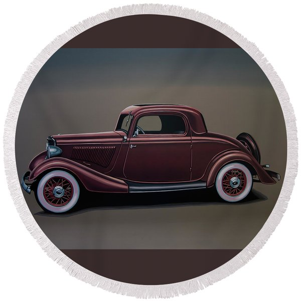 Ford 3 Window Coupe 1933 Painting Round Beach Towel