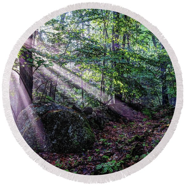 Forest Sunbeams Round Beach Towel