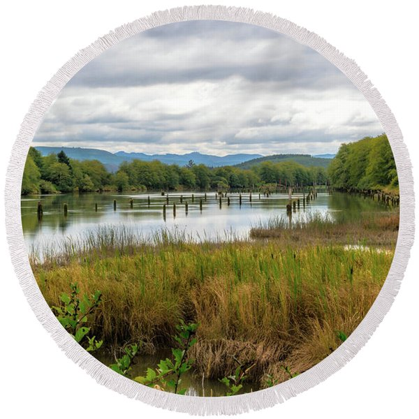 Round Beach Towel featuring the photograph fort Clatsop on the Columbia River by Michael Hope