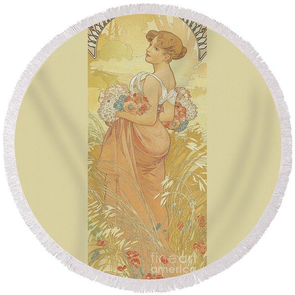Four Seasons Summer, 1900 Round Beach Towel