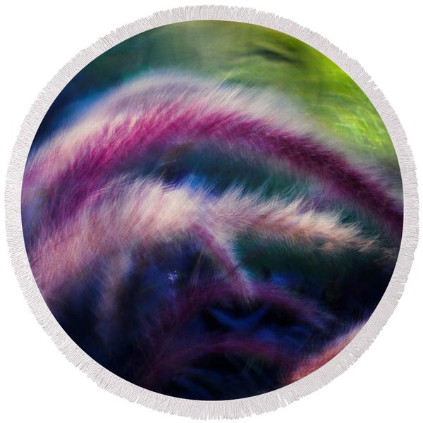 Foxtails In Shadows Round Beach Towel