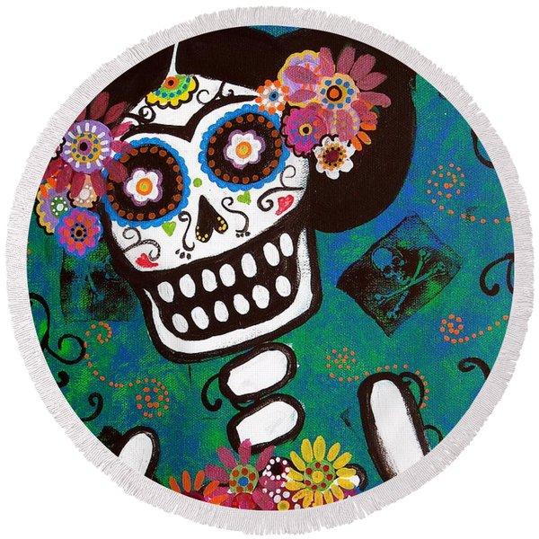 Frida Dia De Los Muertos Round Beach Towel