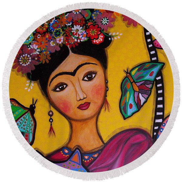 Frida Kahlo Round Beach Towel