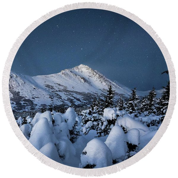 Round Beach Towel featuring the photograph Frosty False Omalley C by Tim Newton