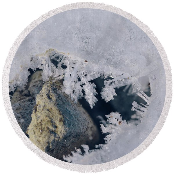 Frozen Rock Round Beach Towel