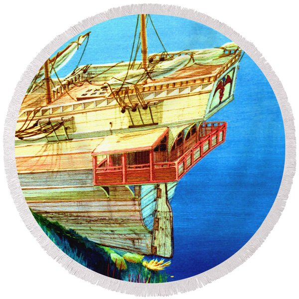 Galleon On The Reef 2 Filtered Round Beach Towel