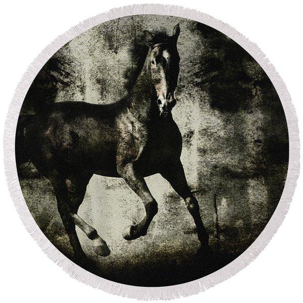 Galloping Horse Artwork Round Beach Towel
