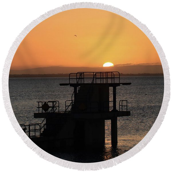 Galway Bay Sunrise Round Beach Towel