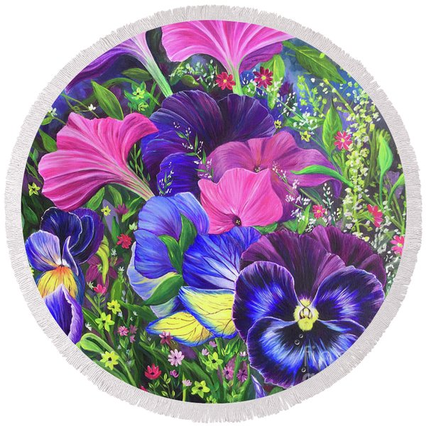 Round Beach Towel featuring the painting Garden Party by Nancy Cupp