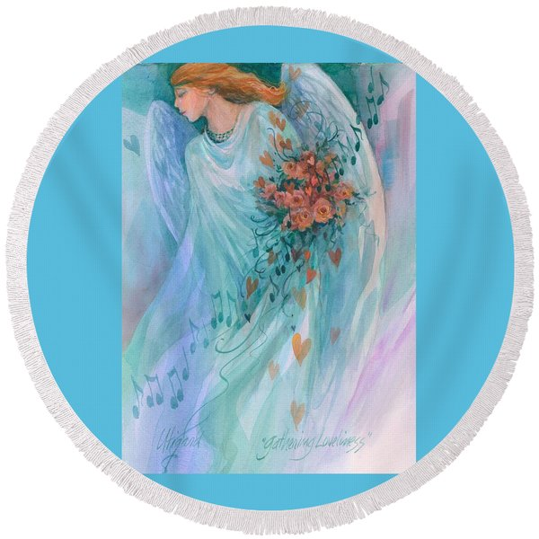 Round Beach Towel featuring the painting Gathering Loveliness by Carolyn Utigard Thomas