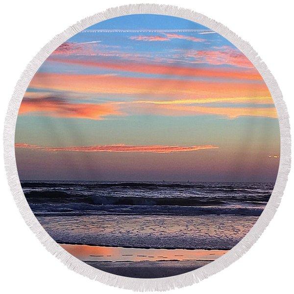 Gator Sunrise 10.31.15 Round Beach Towel