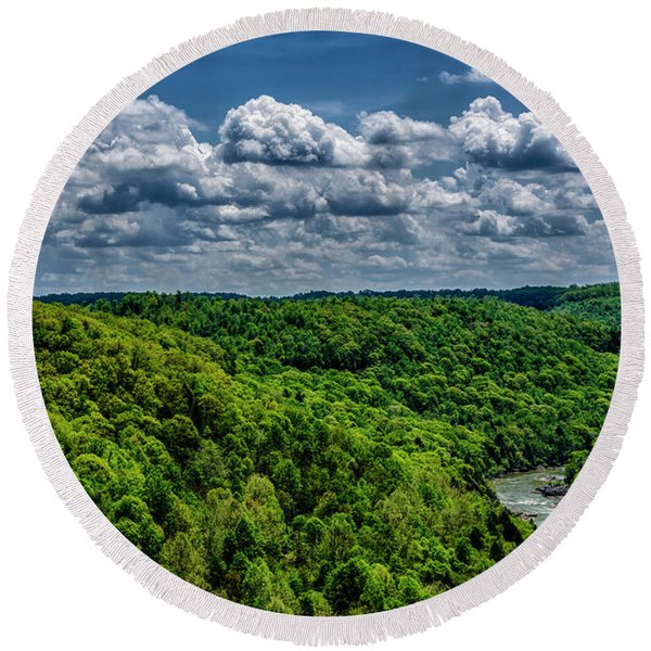 Gauley River Canyon And Clouds Round Beach Towel