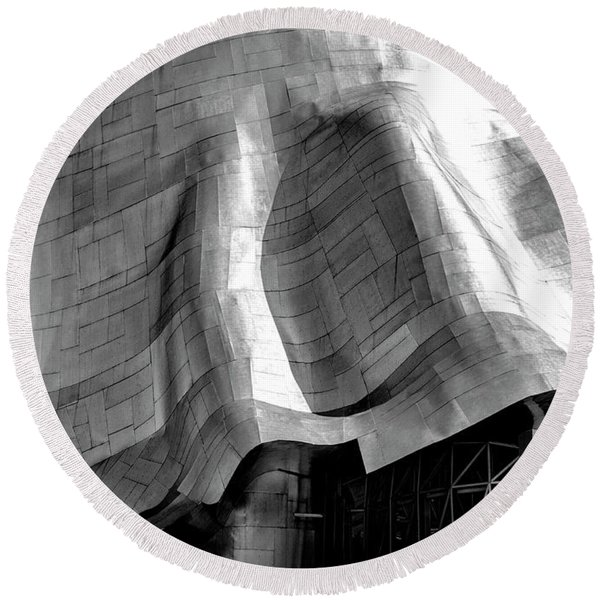 Round Beach Towel featuring the photograph Gehry Emp Seattle by Michael Hope