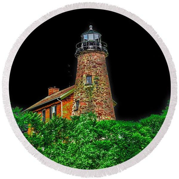 Genesee Lighthouse Round Beach Towel