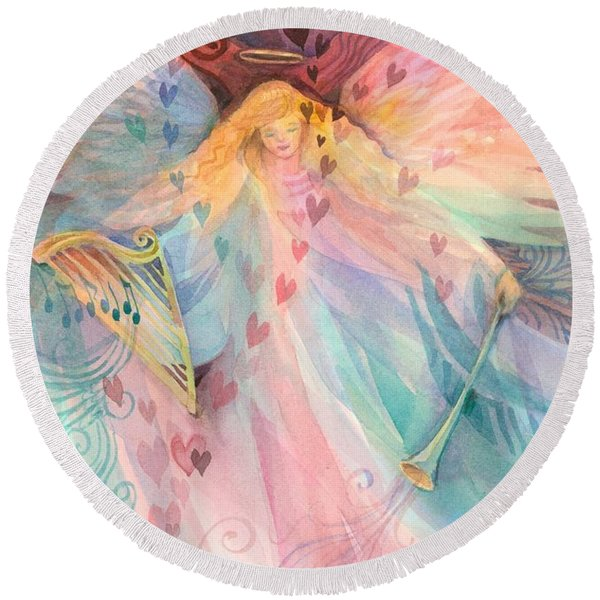 Round Beach Towel featuring the painting Gentle Blessings by Carolyn Utigard Thomas