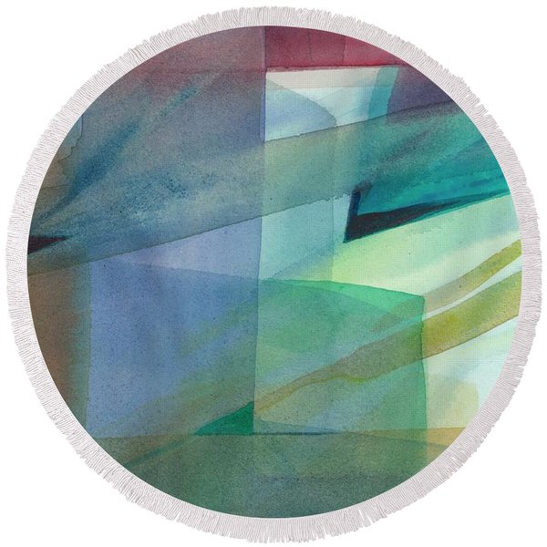 Round Beach Towel featuring the painting Geometric Dimensions by Carolyn Utigard Thomas