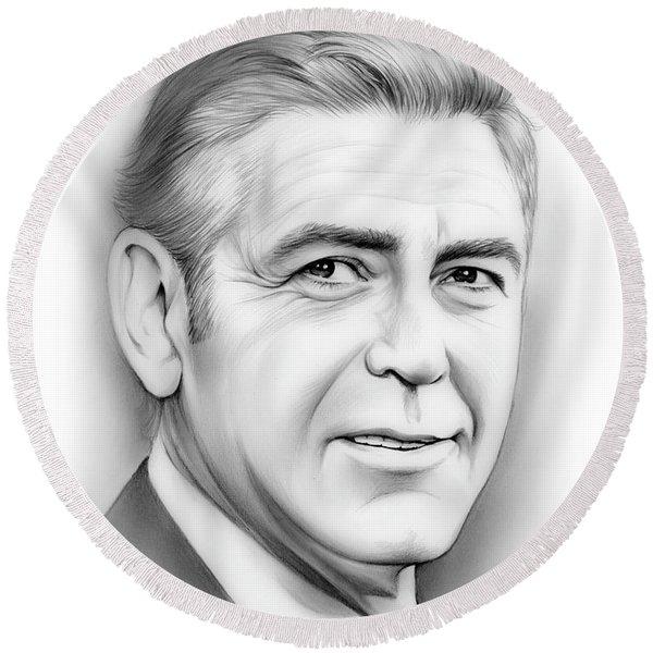 George Clooney Round Beach Towel