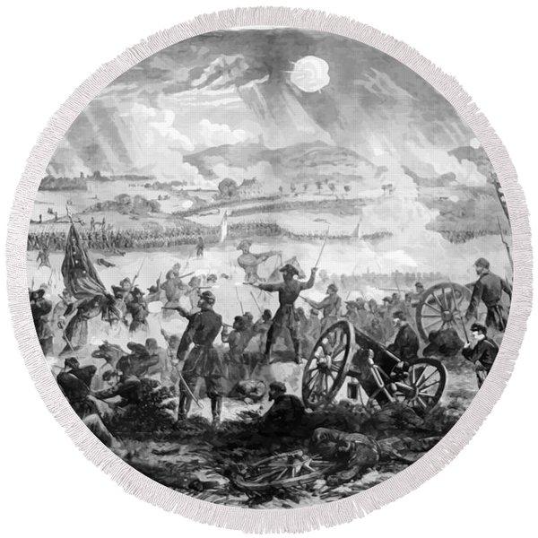 Gettysburg Battle Scene Round Beach Towel