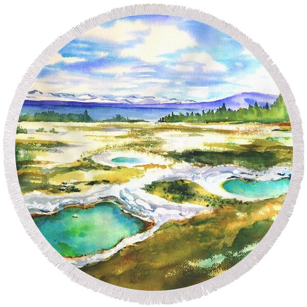 Geyser Basin, Yellowstone Round Beach Towel