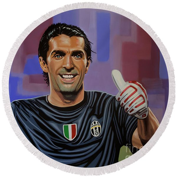 Gianluigi Buffon Painting Round Beach Towel