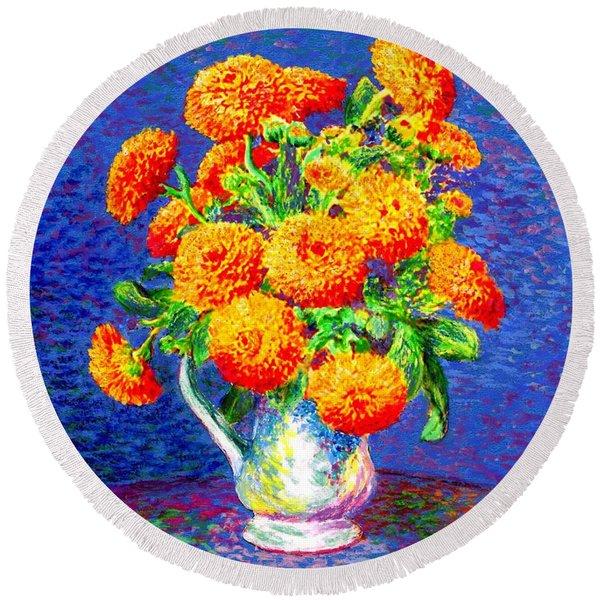 Gift Of Gold, Orange Flowers Round Beach Towel