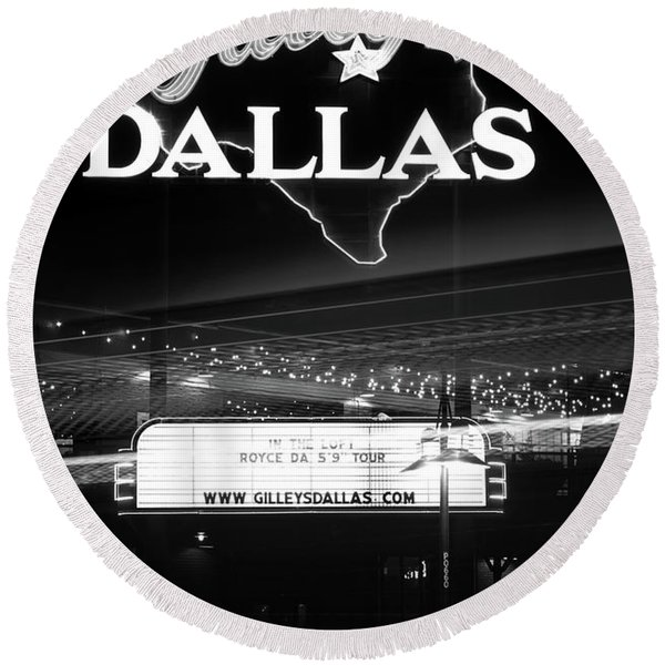 Gilley's Dallas V3bw Round Beach Towel