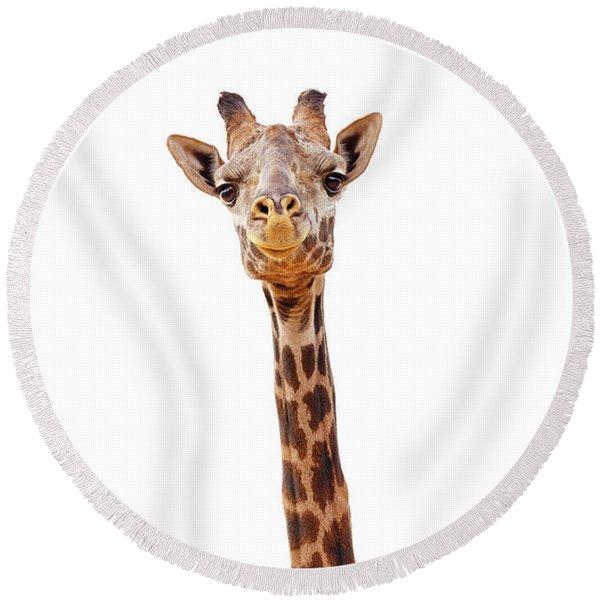 Giraffe Closeup Isolated - Happy Expression Round Beach Towel