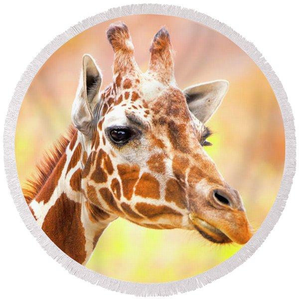Giraffe, Animal Decor, Nursery Decor,  Round Beach Towel