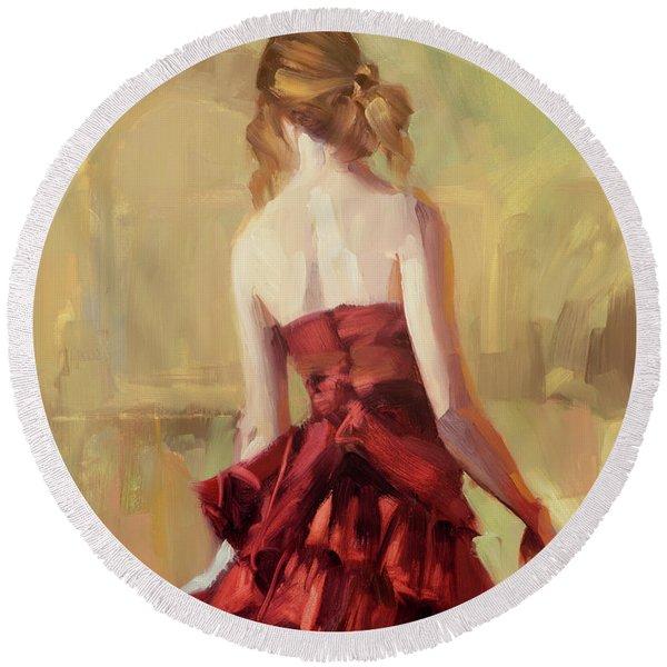 Girl In A Copper Dress II Round Beach Towel