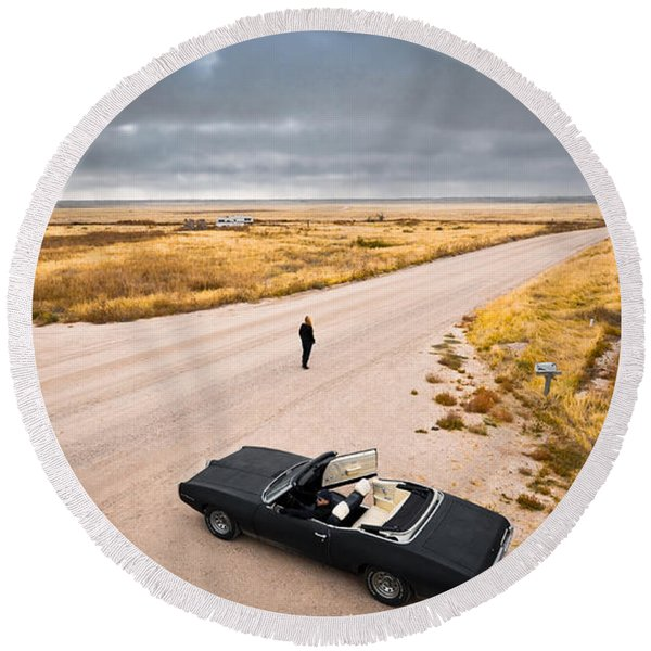 Round Beach Towel featuring the photograph Girl Of The Golden West by Carl Young