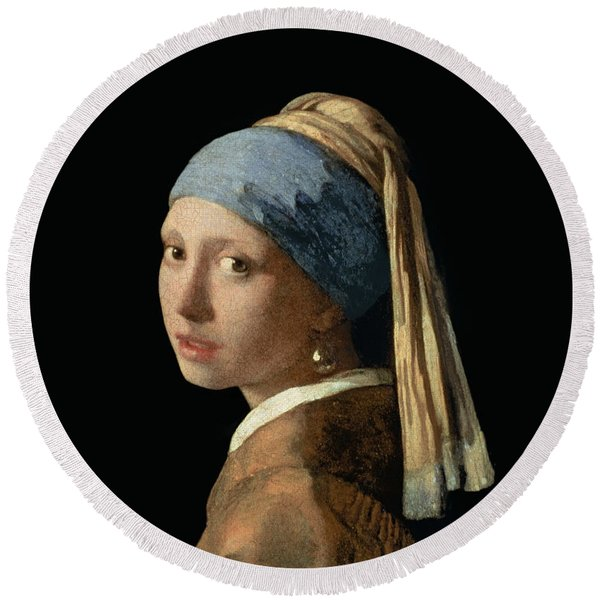 Girl With A Pearl Earring Round Beach Towel
