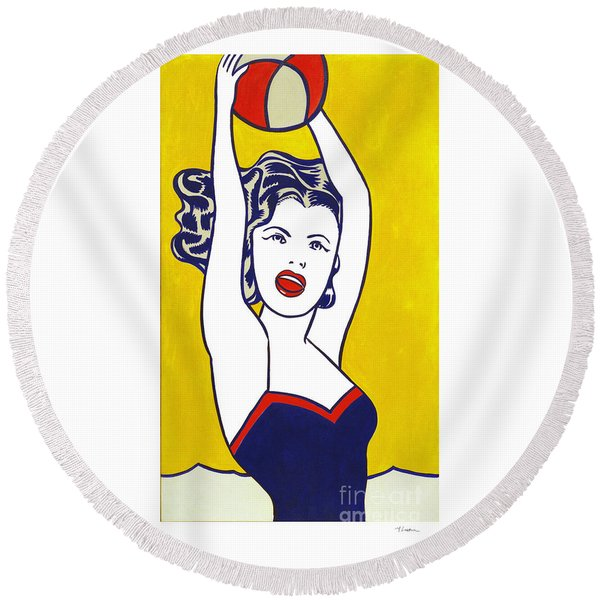Girl With Ball - Pop Art - Roy Lichtenstein Round Beach Towel