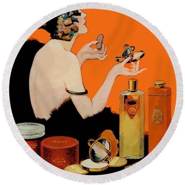 Glamour Vintage Art Deco Cosmetics Round Beach Towel