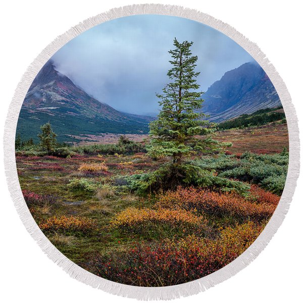 Round Beach Towel featuring the photograph Glen Alps In The Autumn Rain by Tim Newton