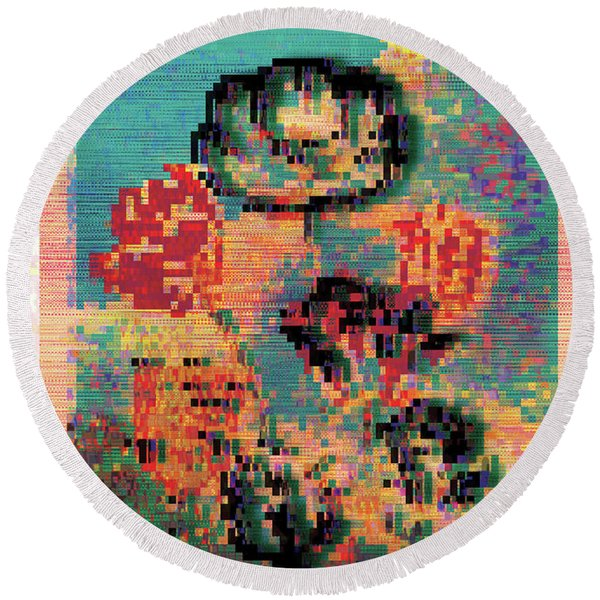 Glitched Tulips Round Beach Towel