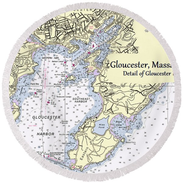 Gloucester Harbor Round Beach Towel