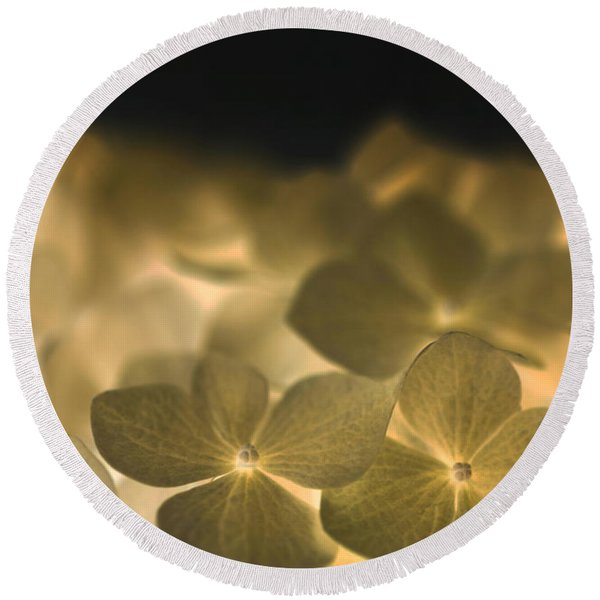 Round Beach Towel featuring the photograph Glow Blossoms by Writermore Arts