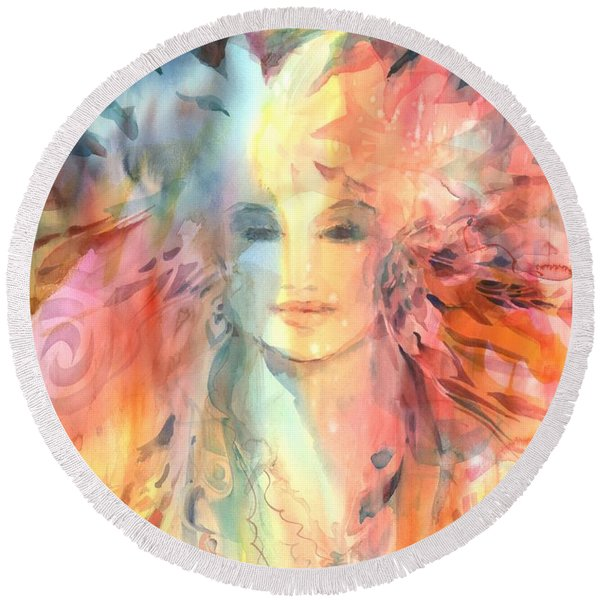 Round Beach Towel featuring the painting Goddess Of Spiritual Abundance by Carolyn Utigard Thomas