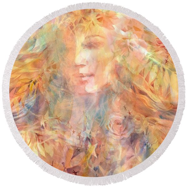 Round Beach Towel featuring the painting Goddess Of Summer by Carolyn Utigard Thomas