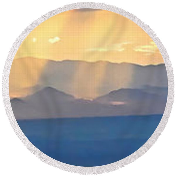 God's Rays Over The Great Basin  Round Beach Towel