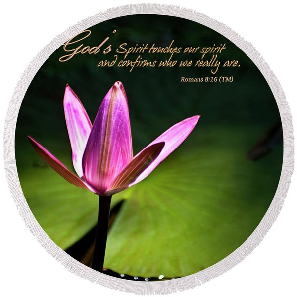 Round Beach Towel featuring the photograph God's Spirit by Carolyn Marshall
