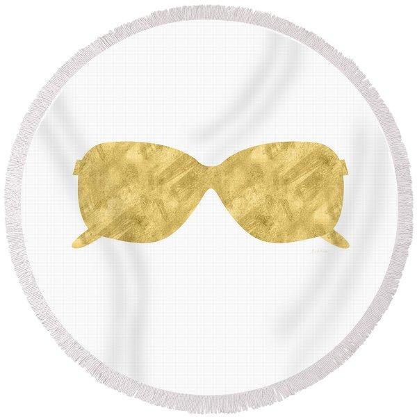 Gold Shades- Art By Linda Woods Round Beach Towel