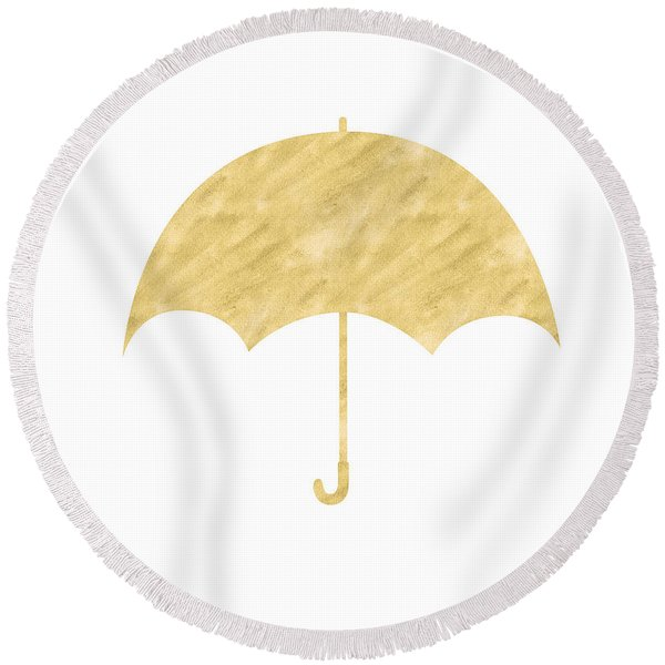 Gold Umbrella- Art By Linda Woods Round Beach Towel
