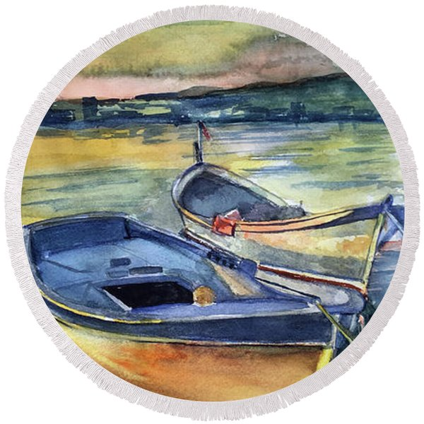 Golden Boats Round Beach Towel