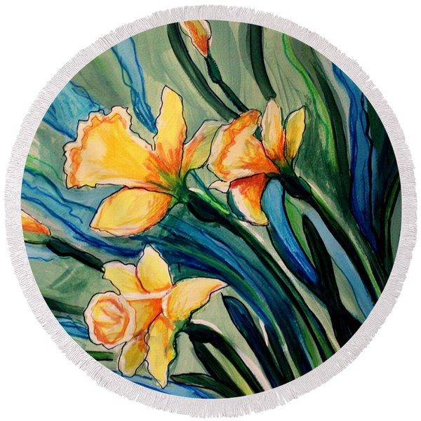 Golden Daffodils Round Beach Towel