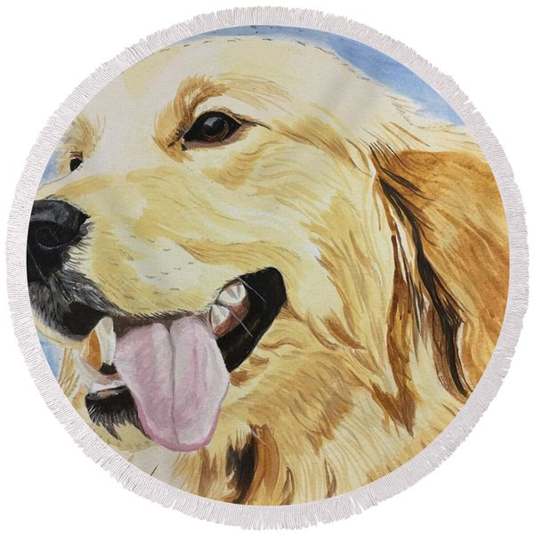 Golden Day Round Beach Towel
