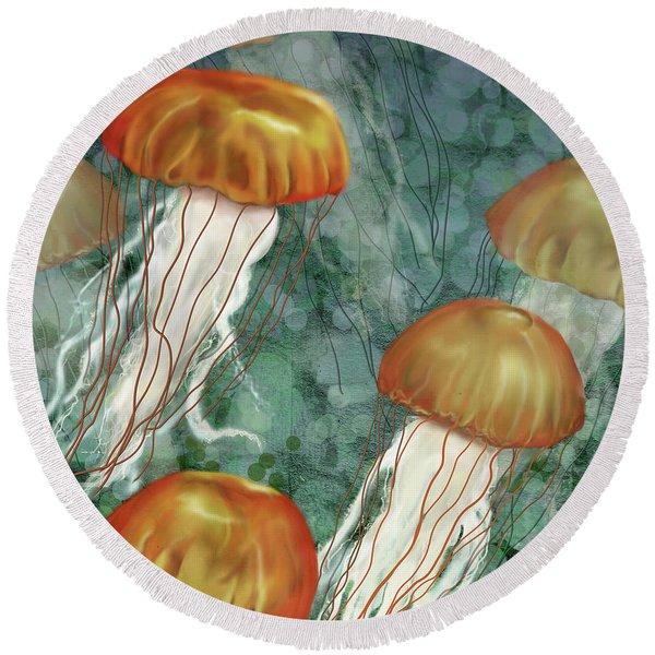 Golden Jellyfish In Green Sea Round Beach Towel