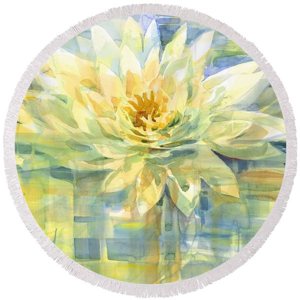 Round Beach Towel featuring the painting Golden Lotus by Carolyn Utigard Thomas