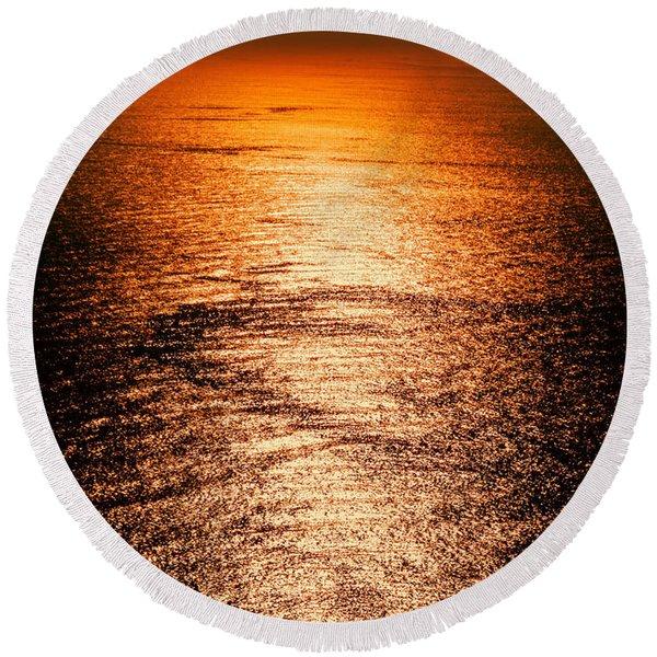 Golden Sea In Alanya Round Beach Towel
